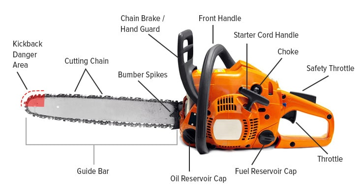 Chainsaw parts labelled explained